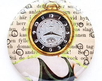 Button, pin, clock, time, man, collage, art badge, badge, wearable art, 2.2 inch, 56 mm