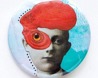 Button, pin, boy, rooster, red, blue, collage, art badge, badge, wearable art, 2.2 inch, 56 mm