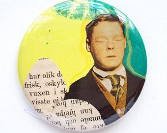 Closed eyes, boy, dreamer, faith, collage, original art, button, pin, art badge, badge, wearable art, 2.2 inch, 56 mm