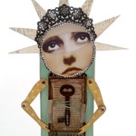 Keep Dreaming, shadow-box, assemblage, dream, key, rust, movable arms