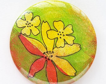 Button, pin, flower, flowers, green, yellow, collage, art badge, badge, wearable art, 2.2 inch, 56 mm