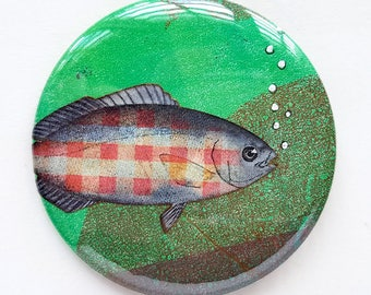 Button, pin, fish, green, collage, art badge, badge, wearable art, 2.2 inch, 56 mm