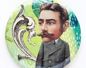 Button, pin, man, suit, collage, art badge, badge, wearable art, 2.2 inch, 56 mm