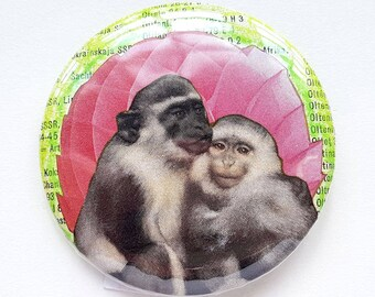 Button, pin, monkey, monkeys, pink, green, love, collage, art badge, badge, wearable art, 2.2 inch, 56 mm
