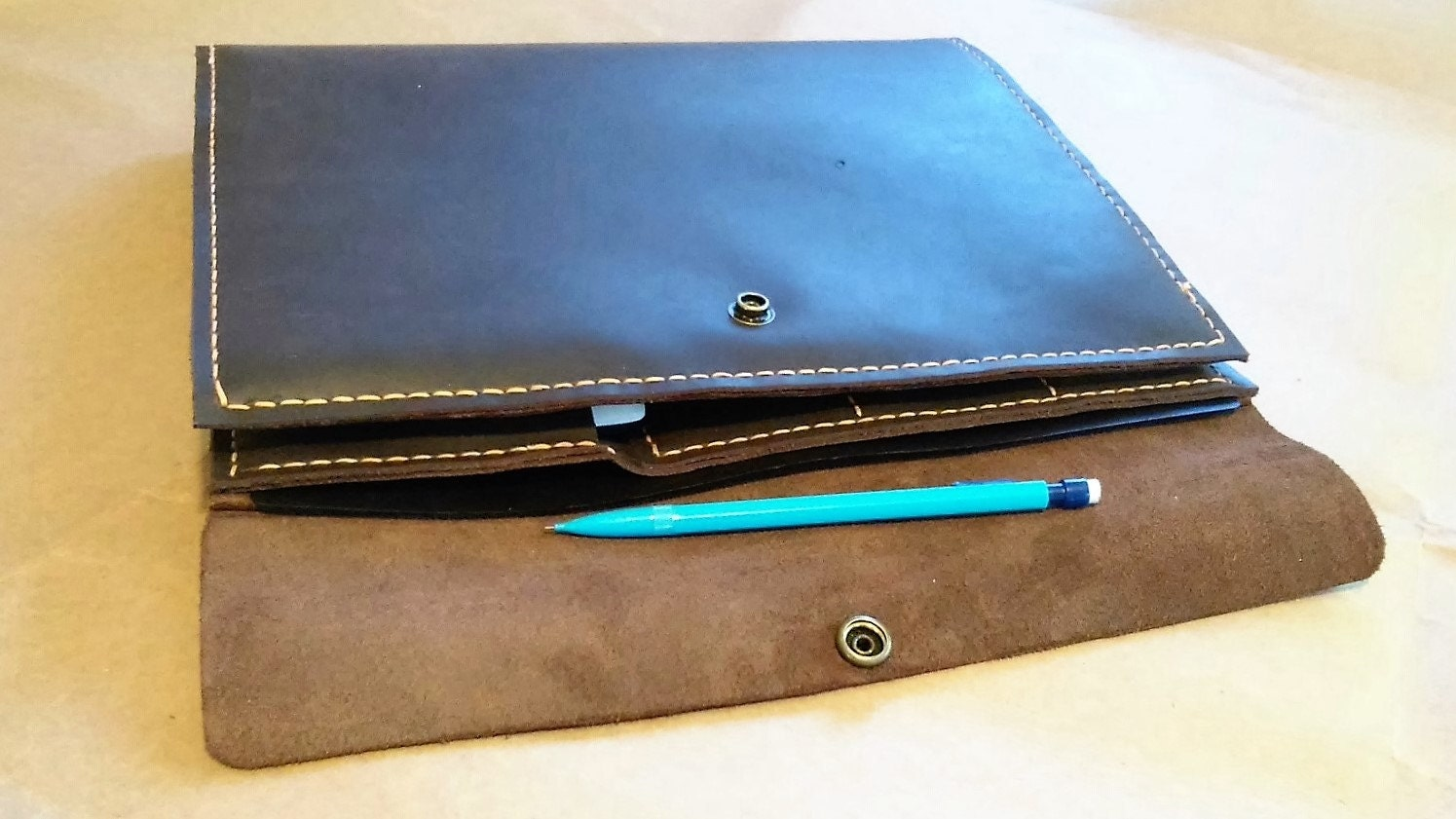 Large leather portfolio notebook holder with refillable three ring business card holders and phone pocket gallery photo gallery photo colourmoves