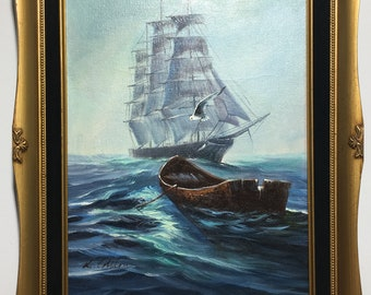 VINTAGE OIL PAINTING, Original Framed ''Ghost Ship'' Signed L.Collton Seascape, painting 16''x 20'' Canvas with 21''x 25'' gold Gilded frame