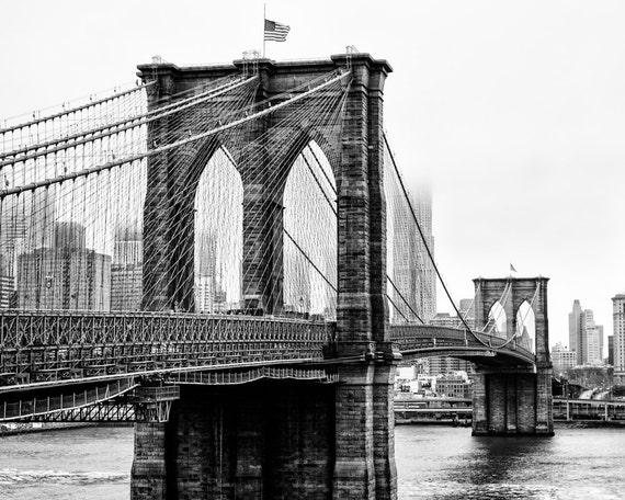 Fotografía de Nueva York puente de Brooklyn vista del