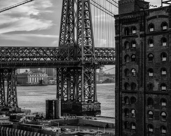 New York Photography - Williamsburg Bridge, Domino Sugar Factory, Brooklyn, Black and White Fine Art Photography, NYC Pictures, 8x10 photo