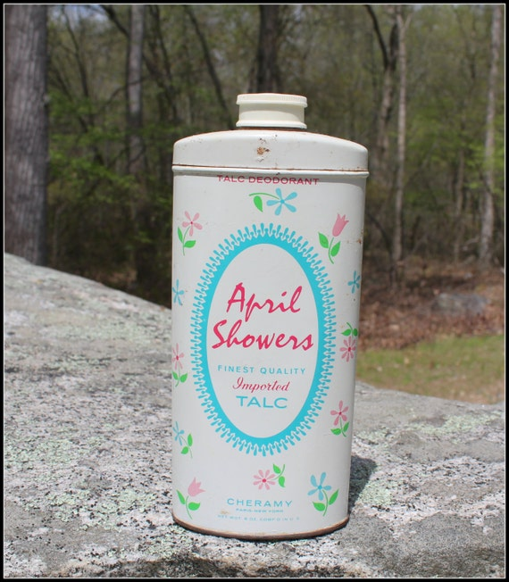 Vintage April Showers Imported Talc Tin Reduced