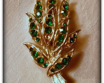 Vintage Costume Jewelry Brooch with Green Rhinestones