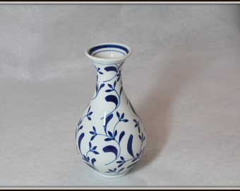 Vintage Blue & White Flora Fine Porcelain Vase