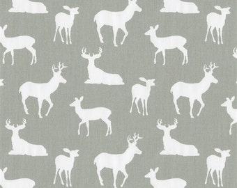 Handmade Curtain Valance, 50W x 15L, in Gray/White Deer Print ,Home Decor,Nursery