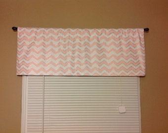 Handmade Curtain/Valance 44W x 15L  Baby Pink/White/Gold Chevron, Zigzag, Nursery, Girls Room, Home Decor
