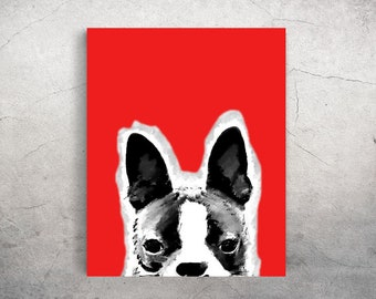 Portrait de Boston Terrier imprimable Télécharger brillant 8 x 10 * rouge VERSION * - d'autres couleurs et personnalisation disponible