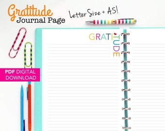 Gratitude Journal Page, Printable Inserts, Planner Pages, lined journal page, notes, letter size, A5 size, large happy planner, discbound