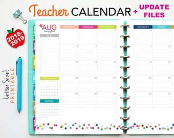 2018-2019 Teacher Planner Calendar, PDF Printable Pages, Inserts - August 2018-July 2019, Printable Covers, Dividers, Teaching, Letter Size