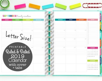 2019 Calendar, Printable Planner, Ruled and Dated, Lined Calendar - Digital Download - Monthly Planning, 12 Months, 2 Page Spreads