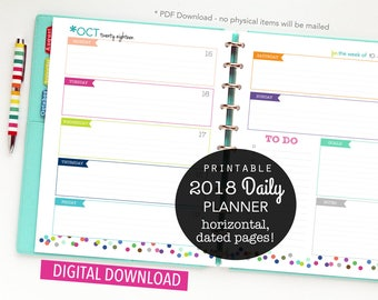 SALE 2018 Daily Planner, Printable Inserts, Personal Planner, Weekly Planner, Monthly Planner, Personal Agenda, Dated 2018, Polka Dots