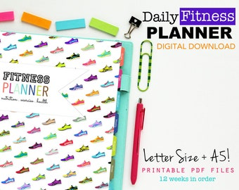 Fitness Planner, Printable Inserts, Diet Log - INSTANT DOWNLOAD - Weekly Meal Log, Goals, Fitness Log, Weight Loss, Letter Size and A5