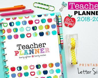 2018-2019 Teacher Planner, PDF Printable Pages, Inserts - August 2018-July 2019, Lesson Planner, Calendar, Teaching, Letter Size