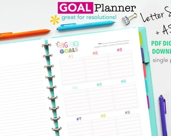 Goal Planner Page, Printable Planner Inserts, Goal Setting, A5 and Letter Size PDF Files -DIGITAL Download - Fitness, Forward Planning