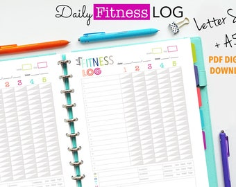 Exercise Log, Printable Planner Insert, Daily Fitness Log, A5 and Letter Size PDF Files -DIGITAL Download - Weight Lifting, WorkoutLog