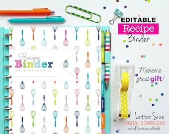 EDITABLE Recipe Binder // Printable Planner Inserts - PDF Download // Recipe Book - Recipe Dividers //  Shower Gift, Recipe Organization