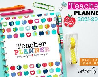 2021-2022 Teacher Planner // Printable Planner Inserts - PDF Download // Lesson Planner  // Grades, Attendance, Calendar, Happy Planner