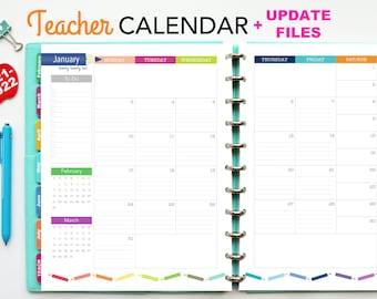 2021-2022 Teacher Planner Calendar Update // Printable Planner Inserts - PDF Download // Monthly Planner, Lesson Planning, Big Happy Planner