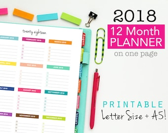 sale 2018 monthly planner page printable planner year on one page yearly planning forward planning yearly checklist goals sheet