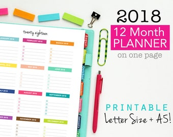 2018 Monthly Planner Page, Printable Planner, Year on One Page, Yearly Planning, Forward Planning, Yearly Checklist, Goals Sheet