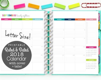 SALE 2018 Calendar, Printable Planner, Ruled and Dated, Lined Calendar - Digital Download - Monthly Planning, 12 Months, 2 Page Spreads