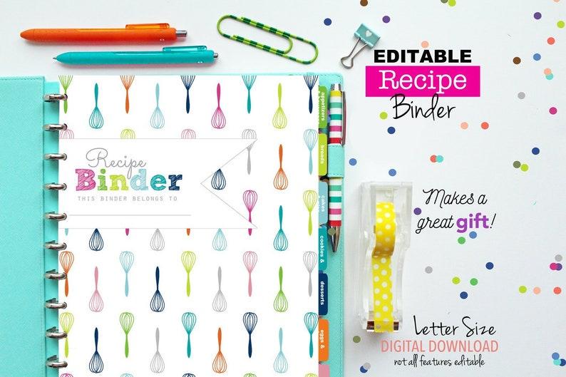 photo about Printable Recipe Book identify EDITABLE Recipe Binder // Printable Planner Inserts - PDF Obtain // Recipe Reserve - Recipe Sheets // Shower Reward, Recipe Business enterprise