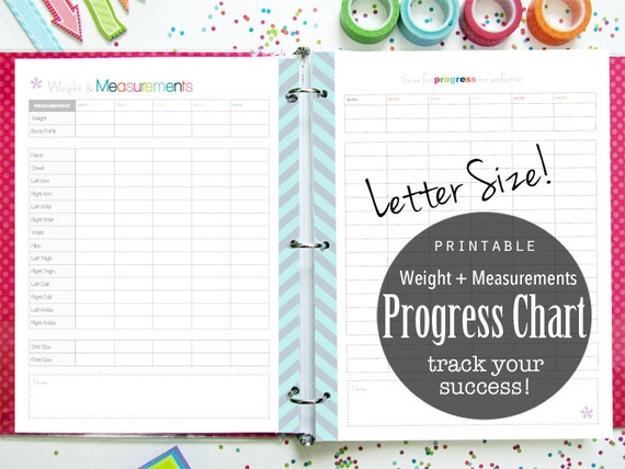 Progress Chart Weight Loss Printable Planner Tracker Etsy