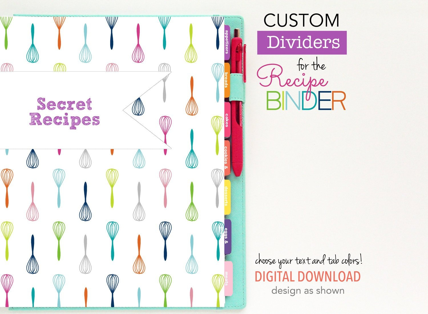photograph regarding Printable Tab Dividers titled Tailor made Recipe Binder Dividers // Printable Planner Inserts - PDF Obtain // Customized Tabs - Recipe Ebook // Pick out your colours, include pieces
