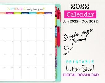 2022 Calendar, Printable Planner, Single Page, Vertical Calendar - Digital Download - Monthly Planning, 12 Months, Planner Inserts
