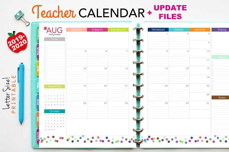 photo relating to Free Printable Calendars for Teachers known as 2019-2020 Trainer Planner Calendar Up grade // Printable Planner Inserts - PDF Obtain // Month to month Planner, Lesson Creating, Significant Delighted Planner