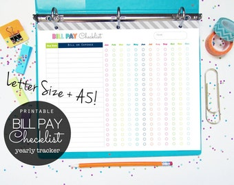 Bill Pay Checklist Printable Planner Page - INSTANT DOWNLOAD - finance, debt payment, budget planner- letter size + A5