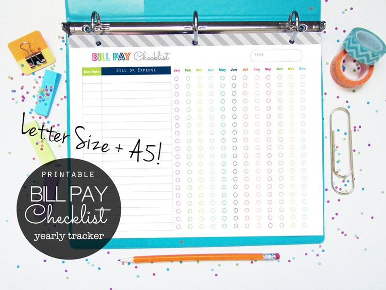 picture about Bill Payment Checklist Printable identify Invoice Pay back Listing Printable Planner Web site - Quick Obtain - finance, personal debt cost, spending budget planner- letter sizing + A5