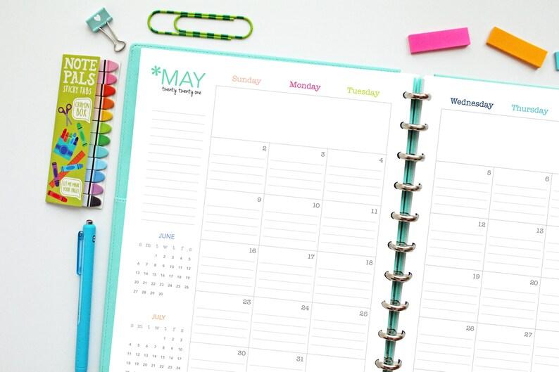 2021 Lined Calendar // Printable Planner Inserts PDF | Etsy