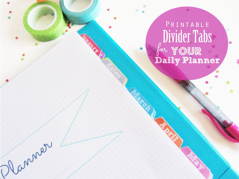 photo relating to Printable Divider Tabs referred to as Divider Tabs, Printable Planner, Webpages, Inserts - Dates, Contacts, Notes, multicolor, January in direction of December