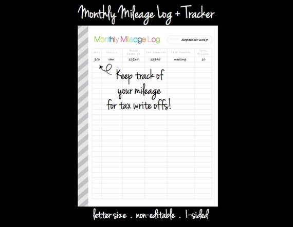Monthly Mileage Log Pdf Printable Planner Page Inserts Etsy