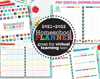 2021-2022 Homeschool Planner // Printable Planner Inserts - PDF Download // Lesson Planner  // Virtual Learning, Calendar, Tracking