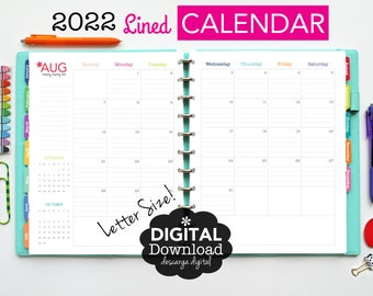 2022 Lined Calendar // Printable Planner Inserts - PDF Download // Ruled + Dated, Planner 2022, Monthly, 2021 Agenda, Big Happy Planner