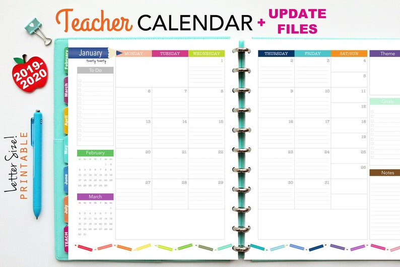 image relating to Monthly Planning Calendar named 2019-2020 Instructor Planner Calendar Enhance // Printable Planner Inserts - PDF Down load // Month to month Planner, Lesson Building, Significant Pleased Planner