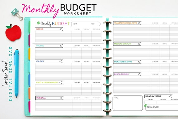 Monthly Budget Worksheet Printable Planner Inserts Pdf Download Budget Finance Expense Income Saving Money