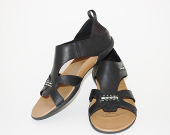 e10de6a2422b Merrell Women s Sandals Size 8.5 Black Flaxen Espresso Performance Footwear  Gladiator Sandals Vtg. Like New