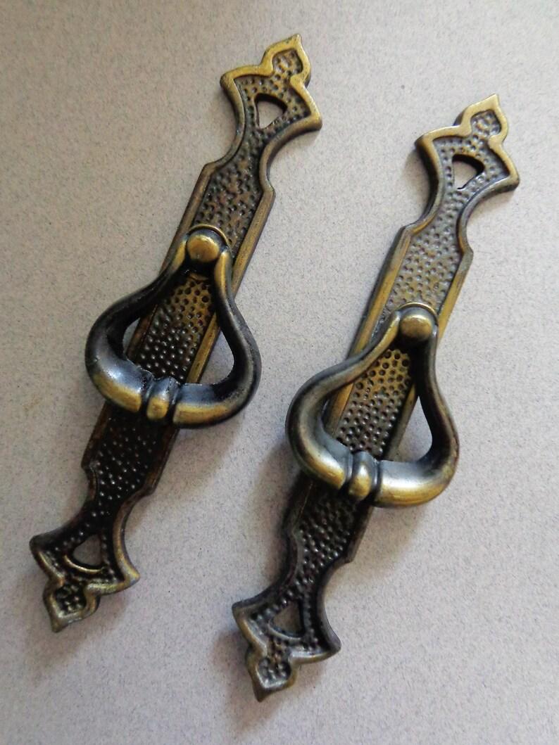 Vintage Amerock Carriage Lot 7 Brass Back Plates Handles Pulls Drawer /& Screws