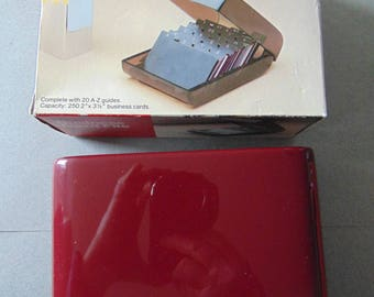 Eldon Business Card File Box 1525 17, Burgundy color, comes with A - Z Cards in original Box Newell Office Products