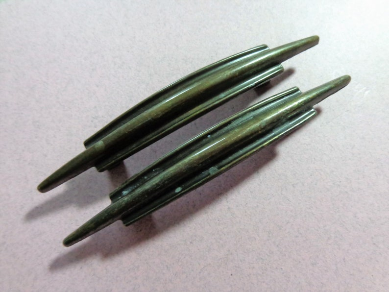 Hardware Brass Pulls 2 Modern Cabinet come with screws 2.5 in center Antique Bronze Drawer pulls Dresser handles